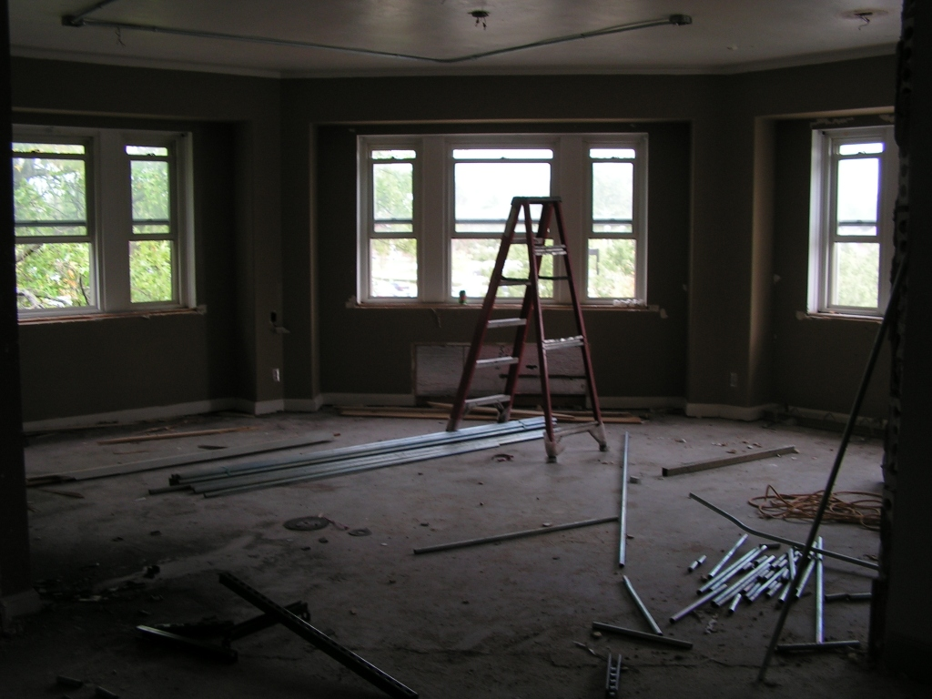 The interior of Brewer NE corner. This which was a formerly a sorority chapter room will become two rooms; a community study room and computer workstation.